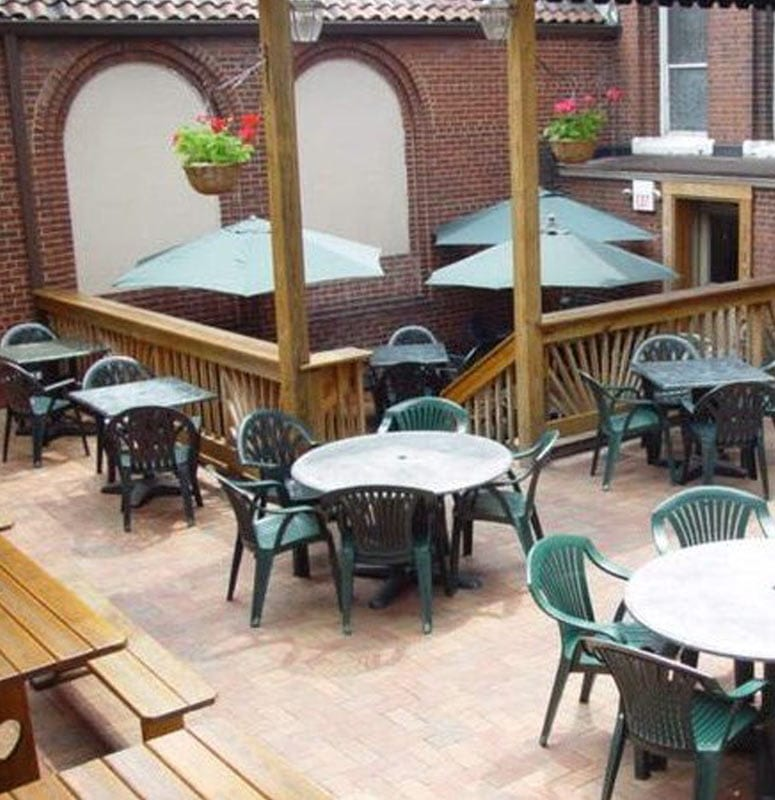 the hop garden, outdoor seating at the Church Brew Works on Liberty Avenue in Pittsburgh, PA